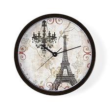 vintage paris eiffel tower chandelier Wall Clock