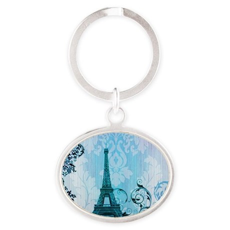 vintage paris eiffel tower damask Oval Keychain