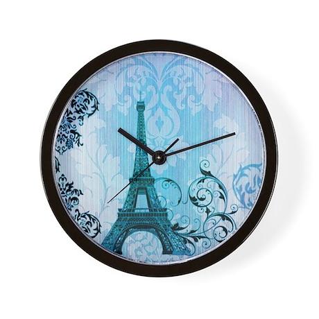 vintage paris eiffel tower damask Wall Clock