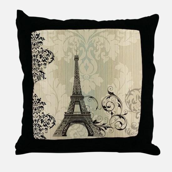 vintage paris eiffel tower damask Throw Pillow