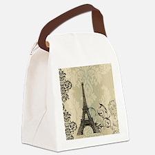vintage paris eiffel tower damask Canvas Lunch Bag