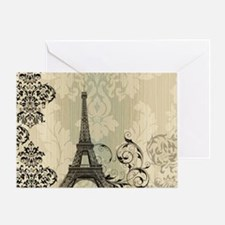 vintage paris eiffel tower damask Greeting Card