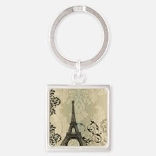 vintage paris eiffel tower damask Square Keychain