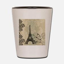vintage paris eiffel tower damask Shot Glass