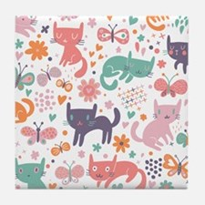 Cute Cats Tile Coaster