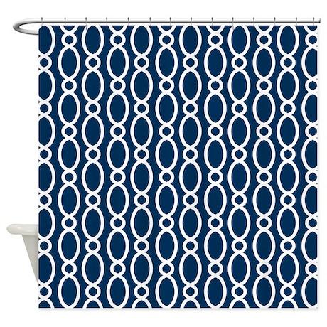 Vine Pattern Navy And White Shower Curtain By MarshEnterprises