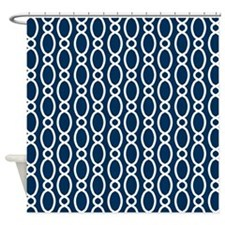 Vine Pattern Navy and White Shower Curtain