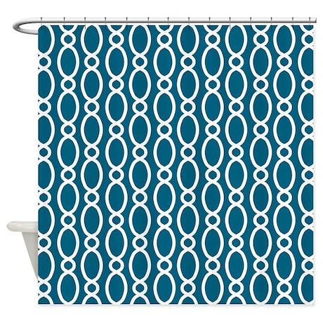 Vine Pattern Teal White Shower Curtain By MarshEnterprises