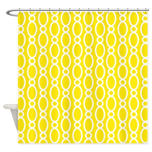Vine Pattern Yellow White Shower Curtain By Marshenterprises