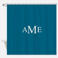 Solid Teal with Monograms Shower Curtain