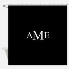 Solid Black with Monograms Shower Curtain
