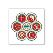 "Religious Peace Square Sticker 3"" x 3"""