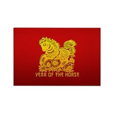 Chinese Zodiac Paper Cut Horse Rectangle Magnet