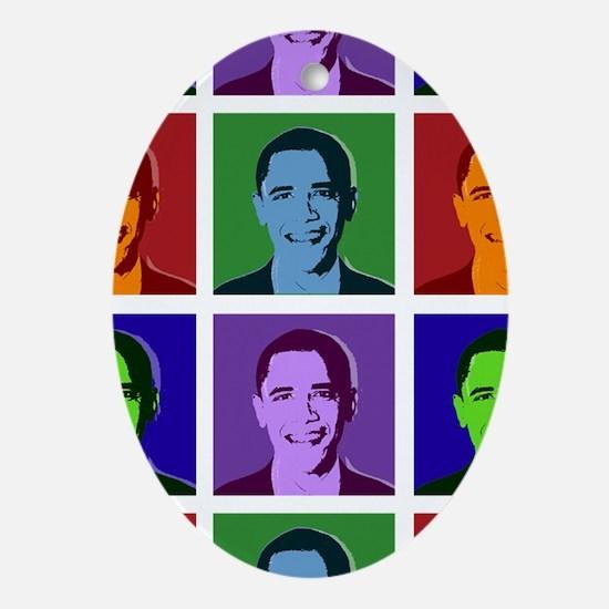 Obama pop art Ornament (Oval)