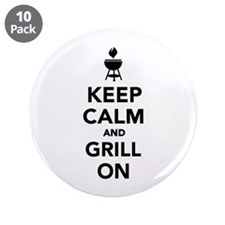 """Keep calm and grill on 3.5"""" Button (10 pack)"""
