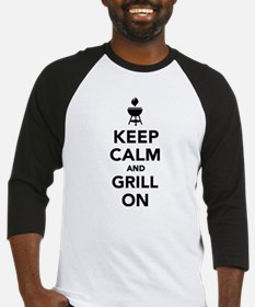 Keep calm and grill on Baseball Jersey