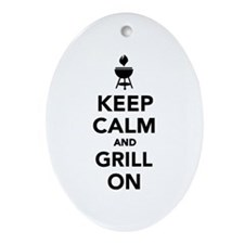 Keep calm and grill on Ornament (Oval)