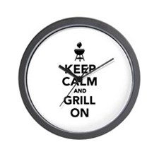 Keep calm and grill on Wall Clock