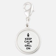 Keep calm and grill on Silver Round Charm