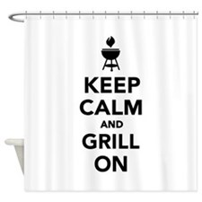 Keep calm and grill on Shower Curtain