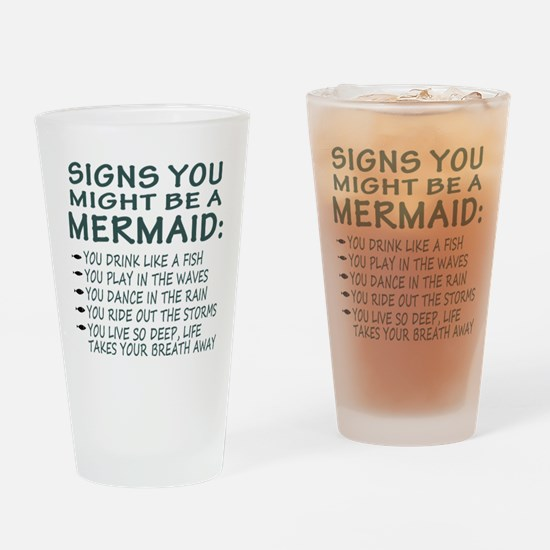 Mermaid Signs Drinking Glass