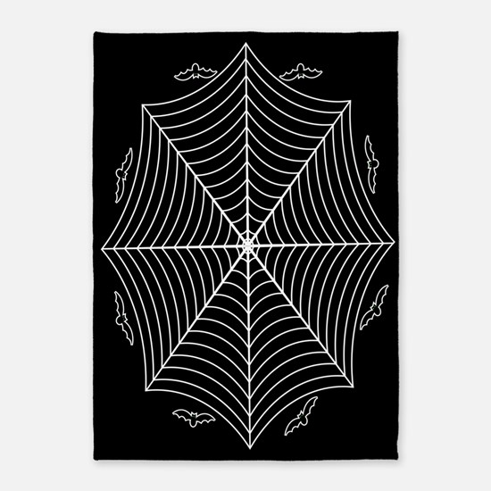 Spider web and bats 5'x7'Area Rug