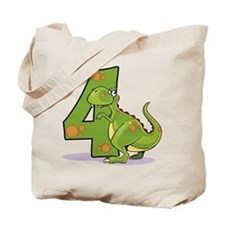 4th Birthday Dinosaur Tote Bag