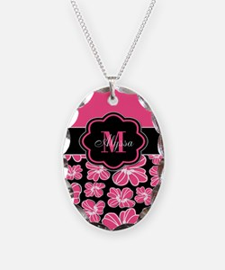Pink Black Floral Personalized Necklace