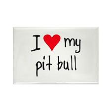 I LOVE MY Pit Bull Rectangle Magnet