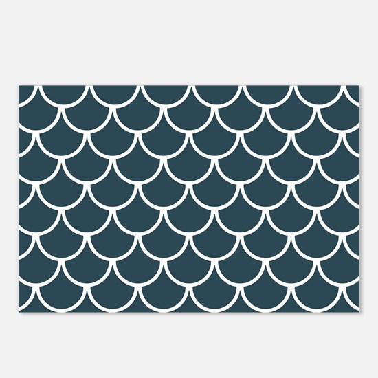 Blue Grey Fish Scales Pat Postcards (Package of 8)