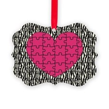 Heart Puzzle Zebra Print Ornament
