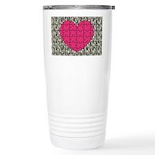 Heart Puzzle Zebra Print Travel Mug