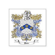 "Moore Family Crest 2 Square Sticker 3"" x 3"""