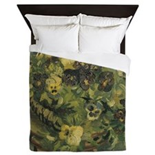 Van Gogh Basket of Pansies Queen Duvet