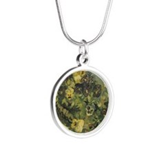 Van Gogh Basket of Pansies Silver Round Necklace