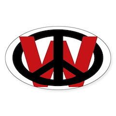 Peace Over W (Oval Sticker)
