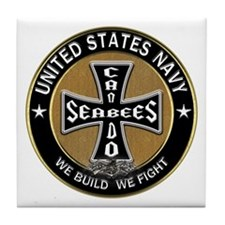 US Navy Seabees Can Do Black Cross Tile Coaster