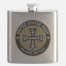 US Navy Seabees Can Do Black Cross Flask