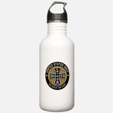 US Navy Seabees Can Do Black Cross Water Bottle