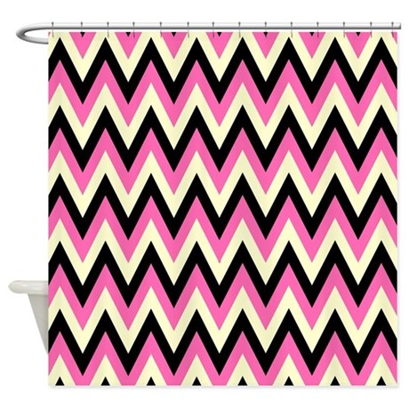 pink yellow and black chevrons shower curtain by retroculture. Black Bedroom Furniture Sets. Home Design Ideas