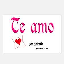 Valentine Postcards (Pack. of 8) Te amo I love u