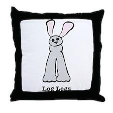 Bunny Log Legs Throw Pillow