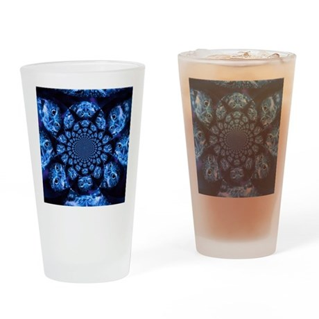 Blue Owl Kaleidoscope Drinking Glass