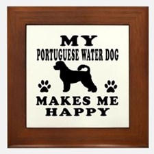 My Portuguese Water Dog makes me happy Framed Tile