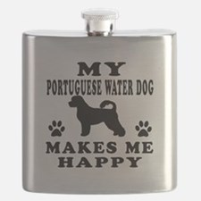 My Portuguese Water Dog makes me happy Flask