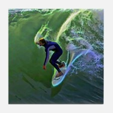 Surfing Art  Tile Coaster