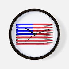Patriotic USA Drumstick Flag Drum Wall Clock