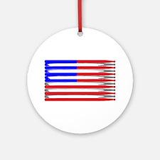 Patriotic USA Drumstick Flag Drum Ornament (Round)