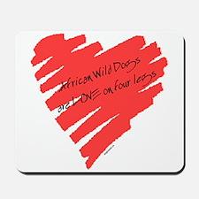 African Wild Dog Love on 4 Legs Mousepad