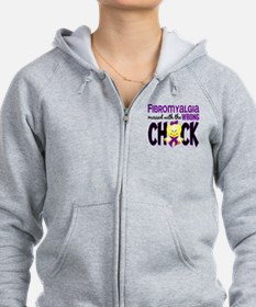 Fibromyalgia Messed With Wrong Chick Zip Hoodie